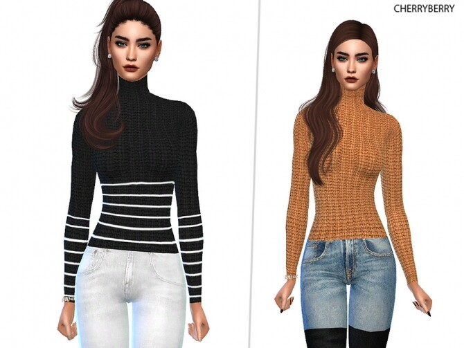 Sims 4 Luxury Turtleneck Sweater by CherryBerrySim at TSR