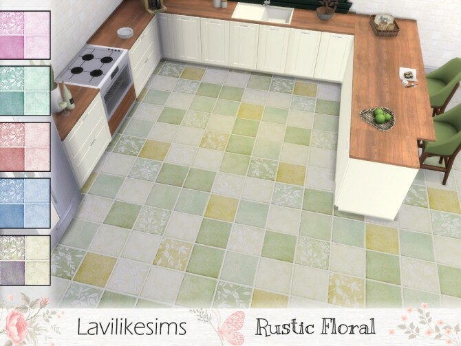 Sims 4 Rustic Floral Floor Tile by lavilikesims at TSR