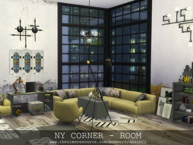 Sims 4 NY CORNER bedroom by dasie2 at TSR