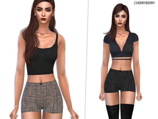Checked Wool Shorts by CherryBerrySim