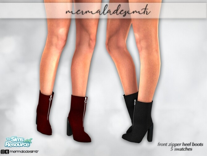 Sims 4 Front Zipper Heel Boots S01 by mermaladesimtr at TSR
