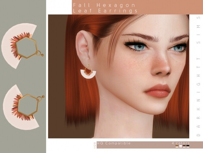 Sims 4 Fall Hexagon Leaf Earrings by DarkNighTt at TSR