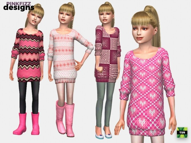 Sims 4 Junior Pink Sweater Dress by Pinkfizzzzz at TSR