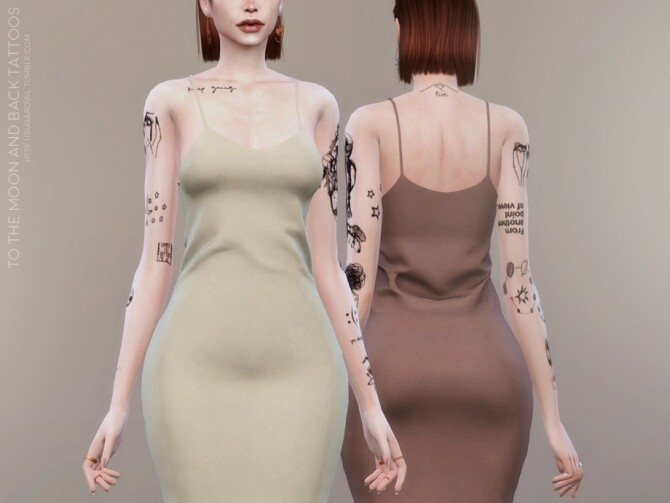 Sims 4 To The Moon And Back tattoos by sugar owl at TSR