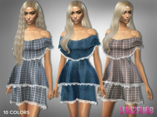 309 Off Shoulder Layered Dress by sims2fanbg