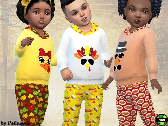 Sims 4 Toddler Thanksgiving Tracksuit by Pelineldis at TSR