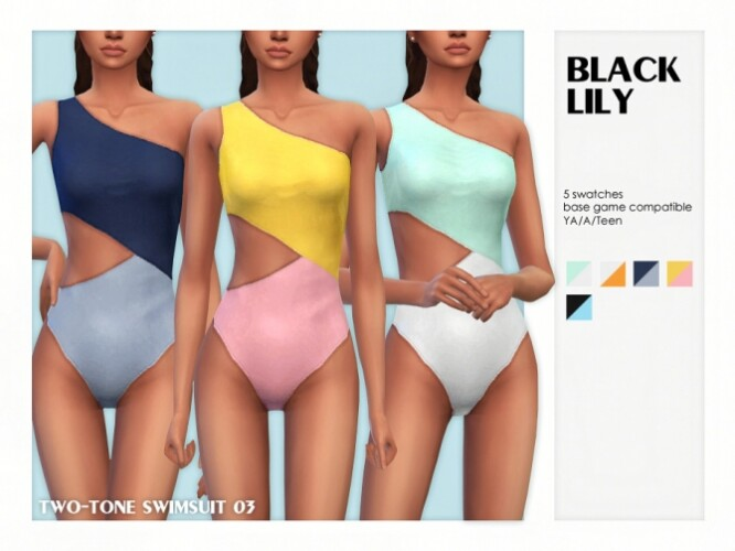 Two-Tone Swimsuit 03 by Black Lily