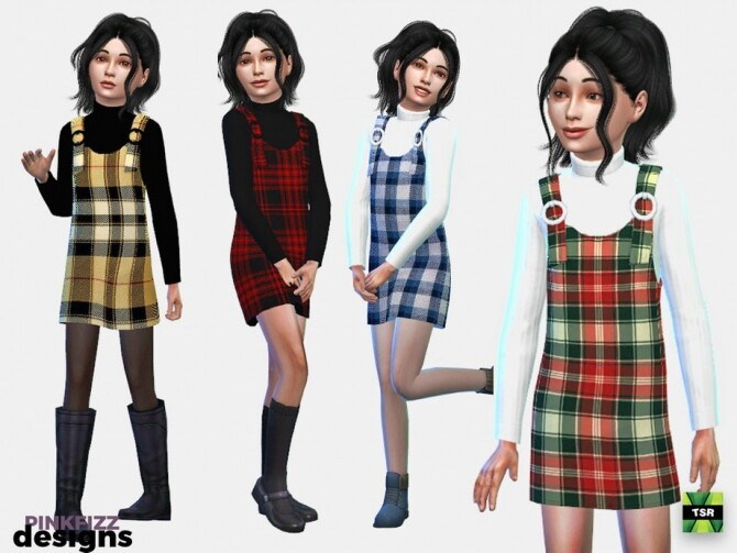 Sims 4 Junior Plaid Pinafore by Pinkfizzzzz at TSR
