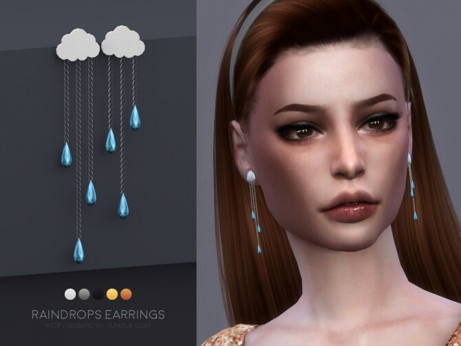 Sims 4 Raindrops earrings by sugar owl at TSR