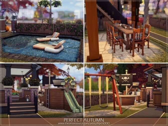 Sims 4 Perfect Autumn House by MychQQQ at TSR
