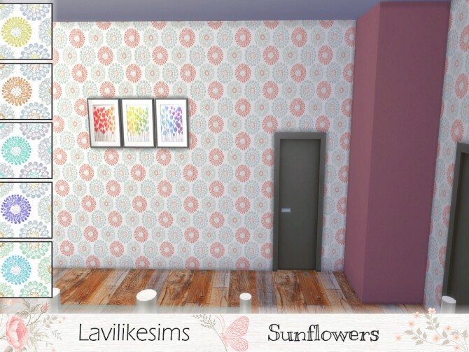 Sims 4 Sunflower wallpaper by lavilikesims at TSR