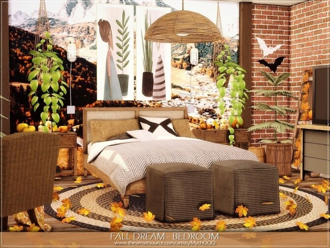 Sims 4 Fall Dream Bedroom by MychQQQ at TSR