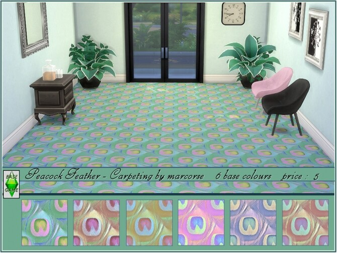 Sims 4 Peacock Feather Carpeting by marcorse at TSR