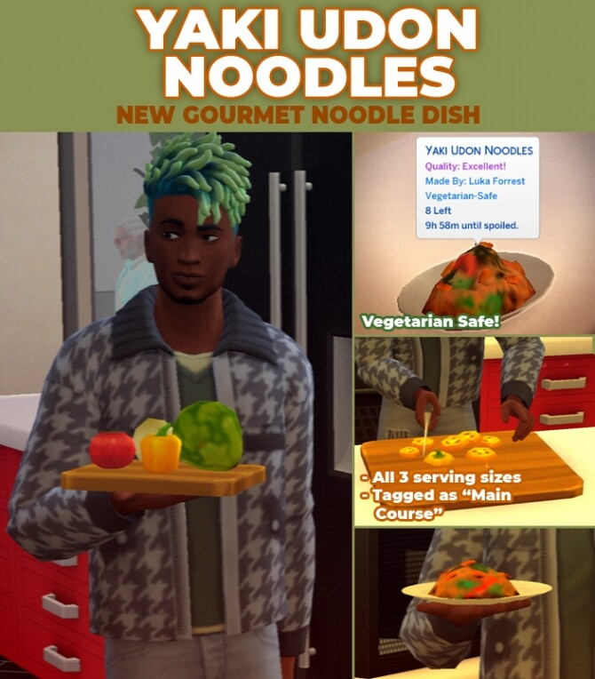 Sims 4 Yaki Udon Noodles Custom Recipe by RobinKLocksley at Mod The Sims