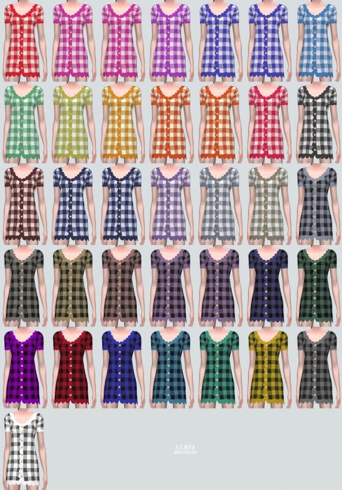 Sims 4 E Scallop Mini Dress V2 at Marigold