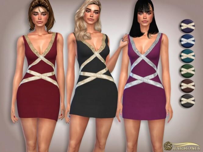 Metallic Trim V-neck Cocktail Dress by Harmonia