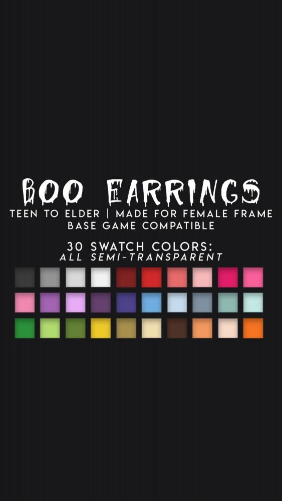 BOO EARRINGS at Candy Sims 4 image 1682 563x1000 Sims 4 Updates