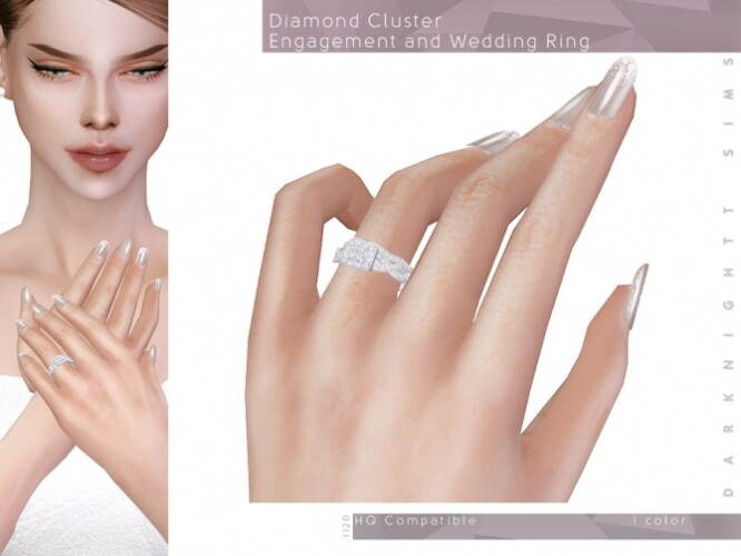 Diamond Cluster Engagement and Wedding Ring by DarkNighTt