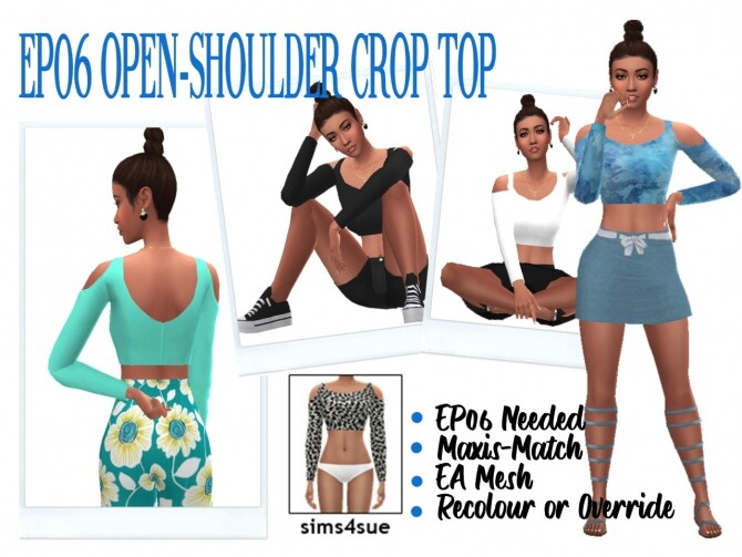 Sims 4 EP06 OPEN SHOULDER CROP TOP at Sims4Sue