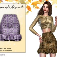Snake Print Satin Frill Mini Skirt MC95 by mermaladesimtr