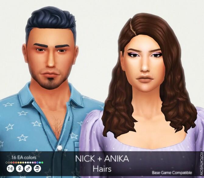 Nick + Anika Hairs at KotCatMeow image 1722 670x586 Sims 4 Updates