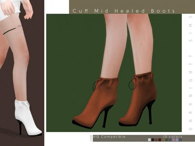Sims 4 Cuff Mid Heeled Boots by DarkNighTt at TSR