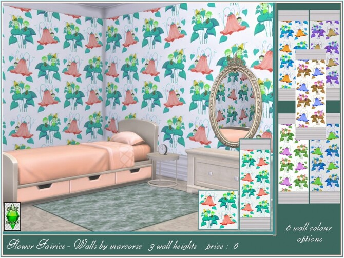 Sims 4 Flower Fairies Walls by marcorse at TSR