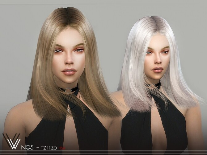 Sims 4 WINGS TZ1126 hair by wingssims at TSR