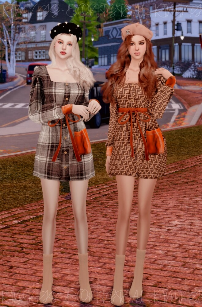 Sims 4 Square Neck Feminine Dress at RIMINGs