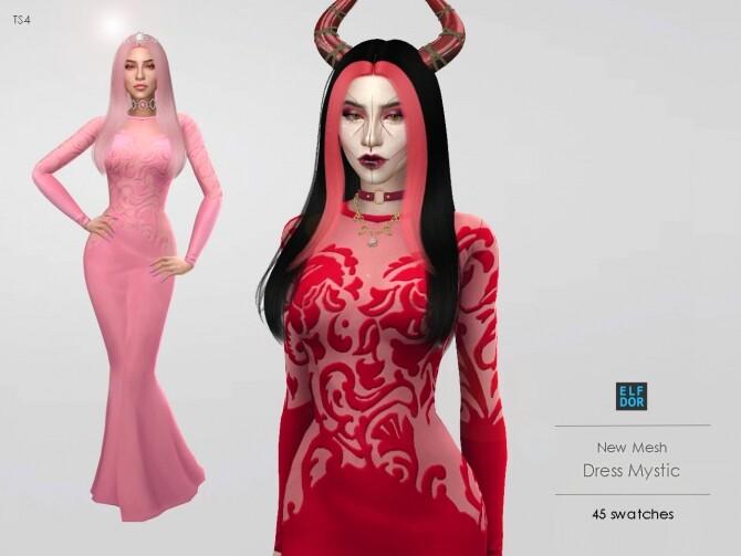 Sims 4 Dress Mystic 2 versions at Elfdor Sims