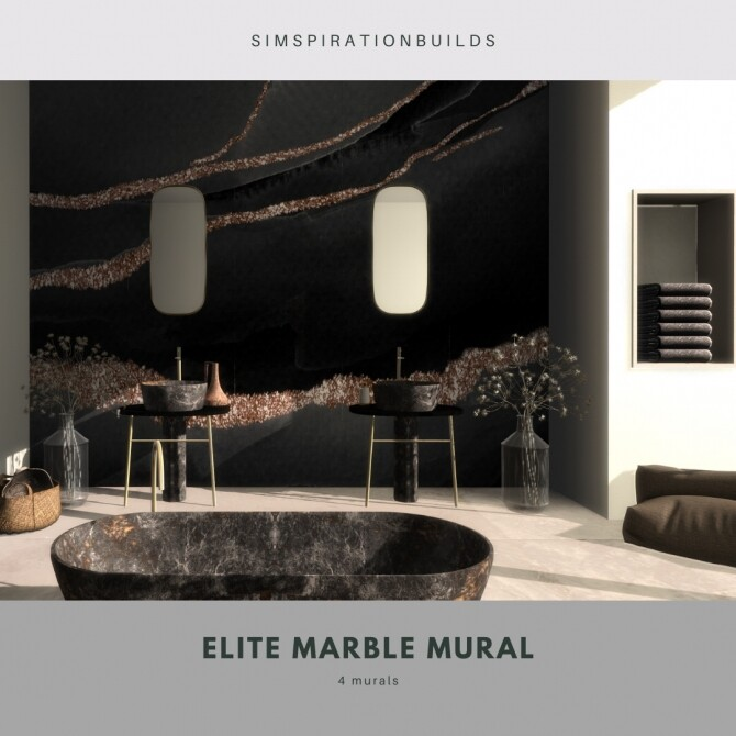 Sims 4 Elite Marble Mural at Simspiration Builds