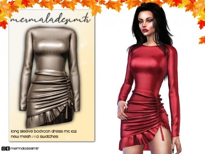 Sims 4 Long Sleeve Bodycon Dress MC102 by mermaladesimtr at TSR