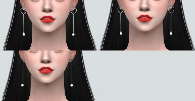 Sims 4 B Heart Ribbon Earring at Marigold