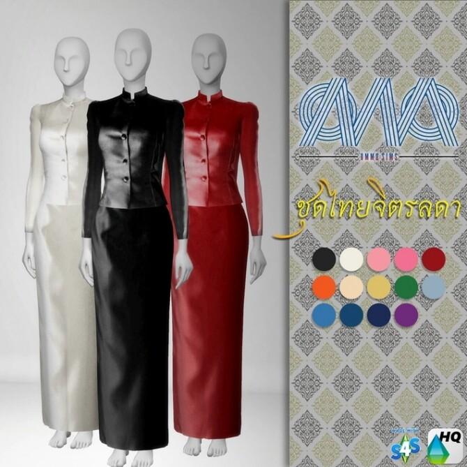 Sims 4 Thai Chitralada Traditional Dress at Ommo Sims