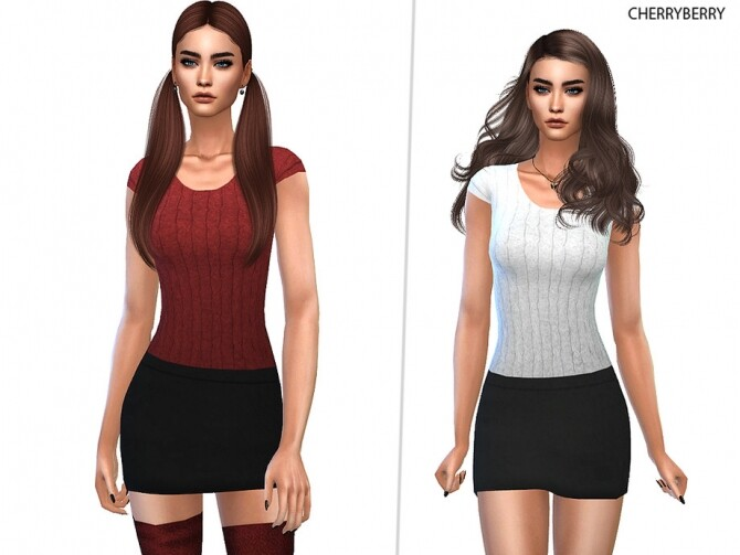 Sims 4 Knit Top Miniskirt Outfit by CherryBerrySim at TSR