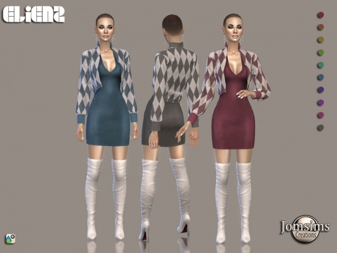 Sims 4 Elienz dress by jomsims at TSR