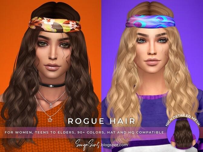 Sims 4 Rogue Hair for females by SonyaSimsCC at TSR