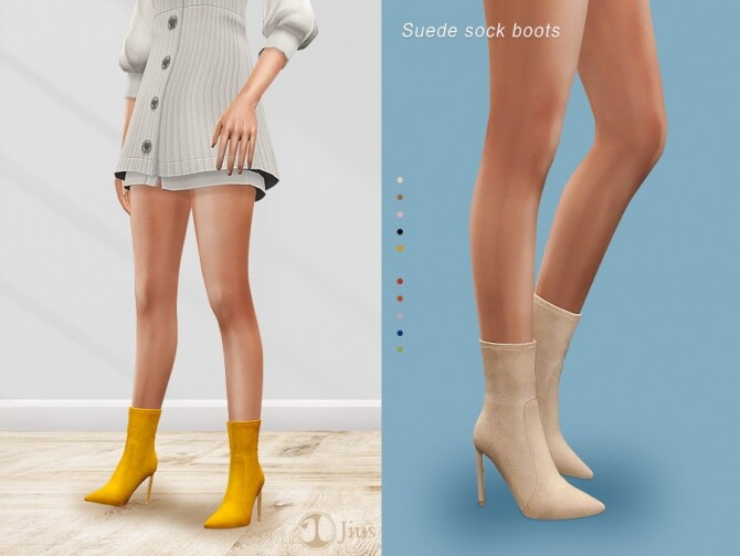 Sims 4 Suede sock boots 01 by Jius at TSR
