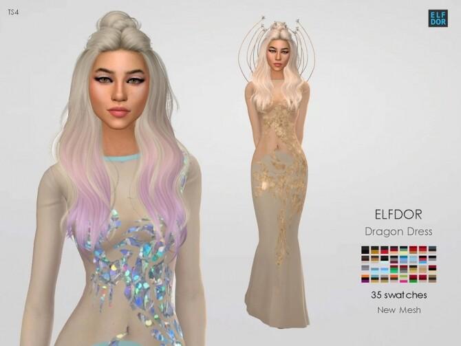 Sims 4 Dragon Dress by Elfdor at TSR