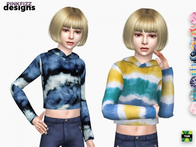 Sims 4 Junior Tie Dye Crop Hoody by Pinkfizzzzz at TSR