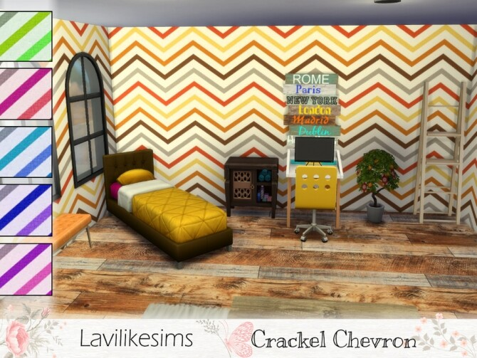 Sims 4 Crackle Chevron Wallpaper by lavilikesims at TSR
