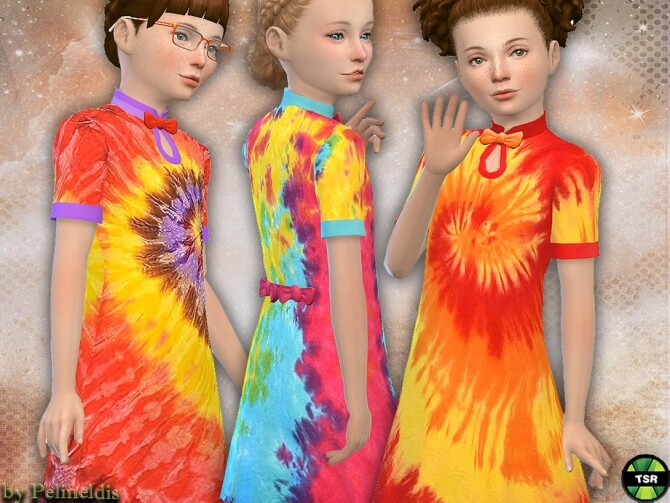 Sims 4 Girls Colorful Tie Dye Dress by Pelineldis at TSR