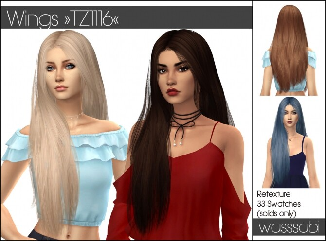 Sims 4 Wings TZ1116 hair retextured at Wasssabi Sims