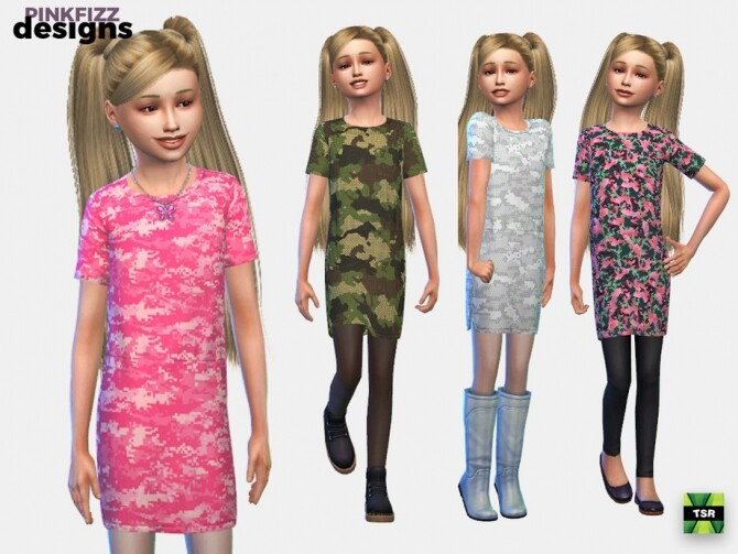 Sims 4 Junior Camo Dress by Pinkfizzzzz at TSR
