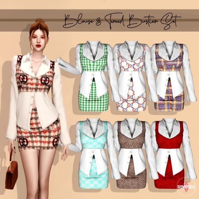 Blouse & Tweed Bustier Set at RIMINGs image 2653 670x670 Sims 4 Updates