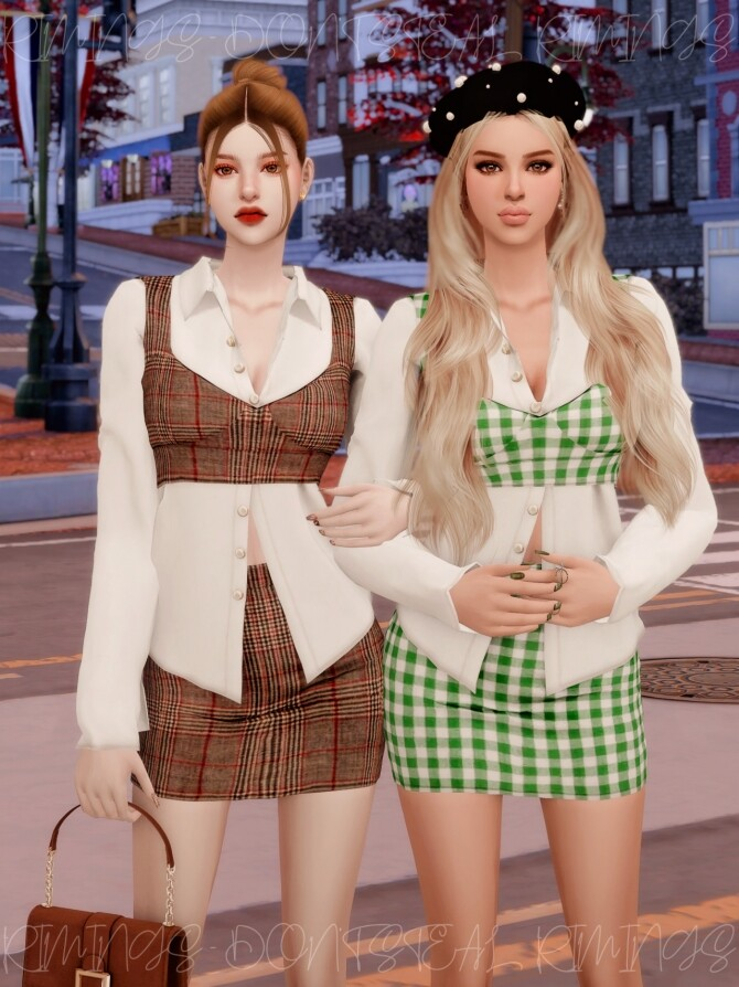 Blouse & Tweed Bustier Set at RIMINGs image 2663 670x894 Sims 4 Updates