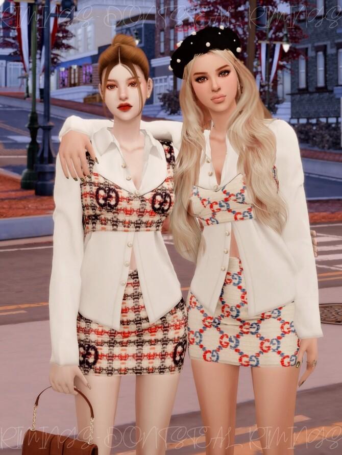 Blouse & Tweed Bustier Set at RIMINGs image 2673 670x891 Sims 4 Updates