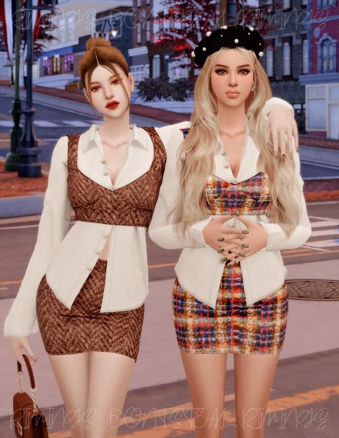 Blouse & Tweed Bustier Set at RIMINGs image 2683 670x864 Sims 4 Updates