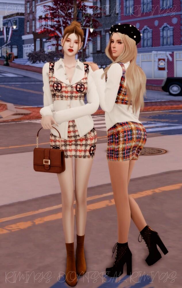 Blouse & Tweed Bustier Set at RIMINGs image 2693 633x1000 Sims 4 Updates