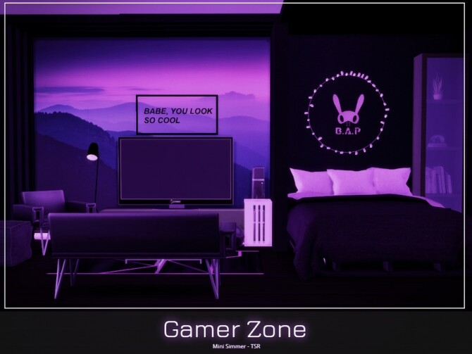 Sims 4 Gamer Zone Bedroom by Mini Simmer at TSR